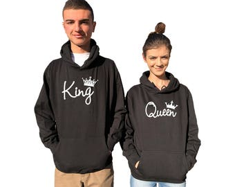 KING QUEEN couple hoodies, matching hoodie , Comes in a pair **BOTH Expedited Shipping**