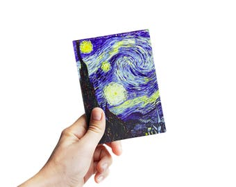 "Passport Cover, passport case, passport holder with painting Van Gogh ""The Starry Night""  eco Leather gift for her gift for him"
