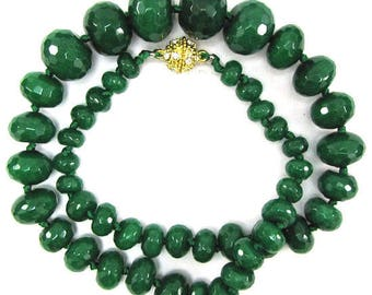 """6-18mm faceted emerald green jade rondelle beads necklace 18"""" 32548"""