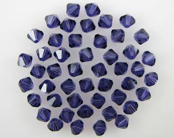 48 4mm Swarovski crystal bicone 5301 Purple Velvet 7918