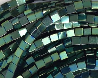 """2mm hematite cube beads 16"""" strand green color 35912"""