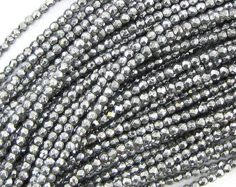 """2mm faceted silver hematite round beads 15.5"""" strand 33204"""