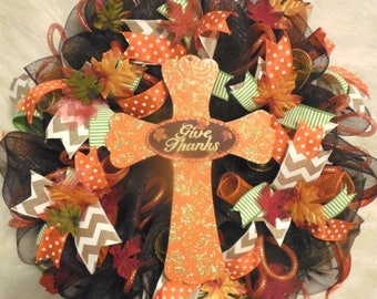 XMAS in JULY SALE-15%off Cross Wreath, Fall Wreath, Fall Wreaths, Harvest Wreath,Thanksgiving Wreath, Happy Thanksgiving Wreath, Happy Harve