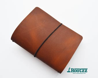 A6 Traveler's notebook Cognac leather - midori like- fauxdori