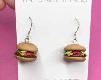 Polymer clay burger earrings