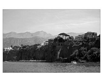 Black and White Photography, Print, Wall Art, Italy, Sorrento, Travel, Mediterranean, Art Deco, Retro, Noir