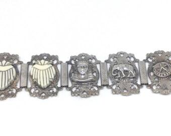 Antique Art Deco Bracelet Silver Plated Egyptian Revival Pharaoh Elephant Star