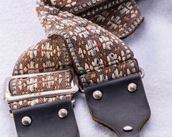 """Vintage Geometric Tan and White Flower Pattern Camera Strap, 47"""" Long, 2"""" Wide, for Canon, Nikon, Pentax, Sony or Others"""
