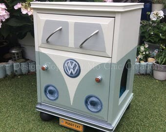 Kitty Camper Cat Bed Vintage Retro VW CamperVan Style Pine Cupboard with drawer