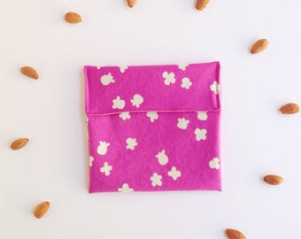 Popcorn print - No Waste snack bag - Eco snack bag - Eco friendly - Food safe fabric snack pouch