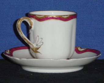 Haviland Demitasse Cup and Saucer with Scarlet and Gold Trim (MV)