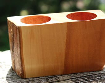 Unusually Beautiful Flame Box Elder Tea-Light Candle Holder Votive