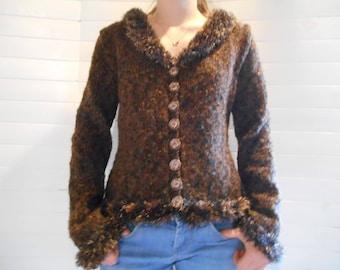 Cardigan in Brown wool blend.
