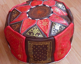 Oriental seat cushion Pouf floor Cushion stool Leather Pillow XXL ø 70 cm