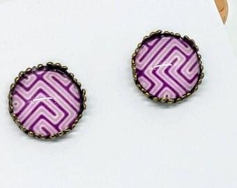 Purple geometric earrings, purple earrings, purple stud earrings, studs earrings, purple cabochon earrings, studs, studs earrings, stud  #1