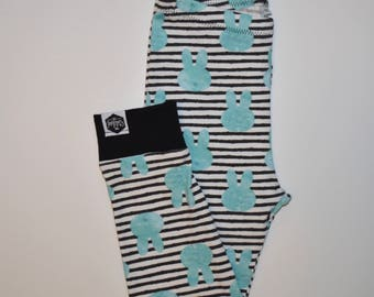 Blue Bunnies on Stripes - Baby Leggings, Toddler Leggings, Easter