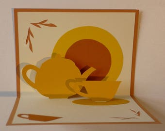 """Thé"" Kirigami pop-up card"