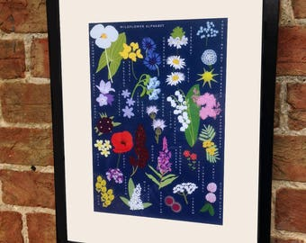 Wildflower Alphabet artist signed and mounted print