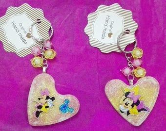 Heart-shaped key ring with Minnie handmade