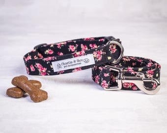 Dog collar and lead - Dog collar and leash - Black dog collar and lead - Pink dog collar and leash - Puppy collar and lead - Puppy gift