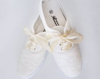Hand Painted And Decorated Lace Sneakers Wedding Shoes Bridal Just Married Birtyhday Party Even Gift For