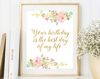 Birthday Party Sign Floral Birthday Party Decoration Pink and Gold Party Sign Girls Birthday Party Sign Gold Birthday Party Printable Poster