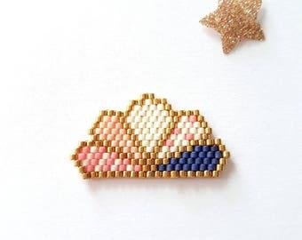 Fan brooch beads miyuki