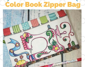 In the Hoop Coloring book Zipper Bag - Sewing Machine - Digital Machine Embroidery design - In the Hoop project
