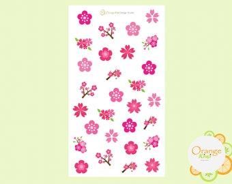 Cherry Blossom Stickers, Planner Stickers, Flower Stickers