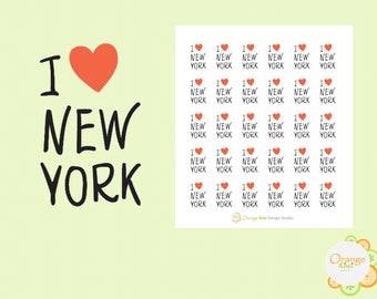 I Love New York Stickers, Planner Stickers, Travel Stickers