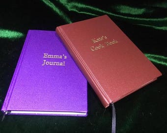 A5 Blank Journals, made to order, wide Colour Choice of Buckram Book Cloth, bound by hand to last a life time, de-bossed with your name.