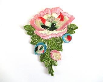 Flower applique, 1930s vintage embroidered applique. Vintage floral patch, sewing supply. #6ADG9AK4