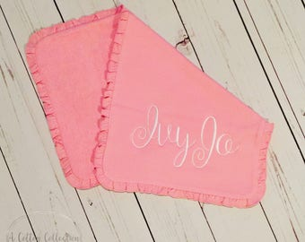 Personalized Ruffle Burp Cloth