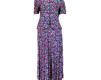 Vintage Clothing, 90s Skirt Set S M, Granny Suit, Grunge Skirt, Secretary Outfit, Floral Print Outfit, Skirt + Top, Maggy London, SIZE S M
