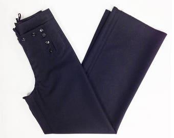 Bell Bottoms 27 28, 70s Pants, Sailor Pants, High Waisted, Authentic US Navy, 13 Button Sailor Pants, Wide Leg, Black Wool Pants, SZ 27 28