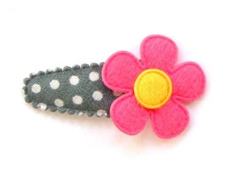 Hair Clip for Baby Girls with Pink Felt Flower