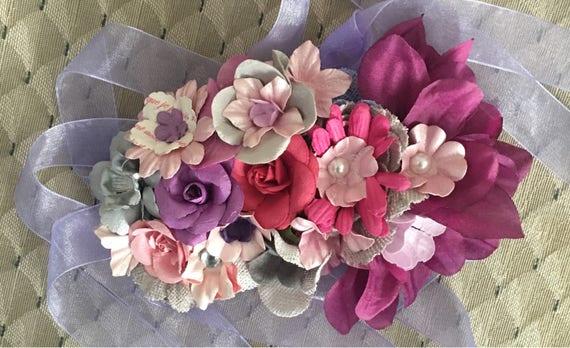 Lavender/purple /silver /grey/pink bump bouquet pregnancy corsage sash