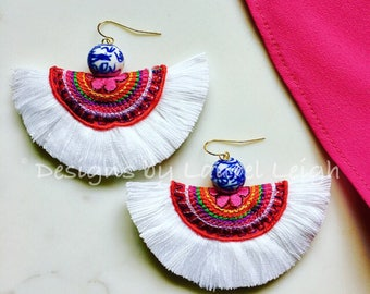 WHITE Fringe Statement Earrings | multicolored, fan, boho, dangle, drop, lightweight, blue and white, chinoiserie
