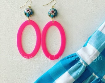 HOT PINK and TURQUOISE Earrings | cloisonné, statement earrings, gold, lightweight