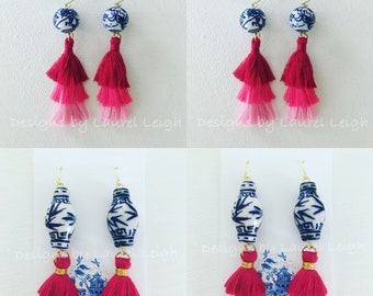 PINK OMBRÉ Mini Stacked Tassel Earrings | blue and white, lightweight, dainty, tiered, layered, Chinoiserie, ombre
