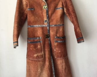 Really steep fur coat warm coat from faux sheepskin and fur, soft & velvet fur vintage retro design long women's old coat brown size-small.