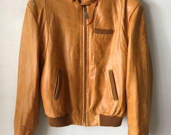 Stunning Short Vintage Orange Genuine Soft Leather Jacket Men's Size Medium.