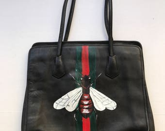 """Black designer handbag, from leather, bag has unique printed picture - """"A Fly"""", stylish handmade bag, new collection, size-medium."""