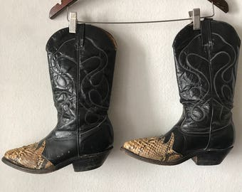 Black men's boots real snake leather genuine leather vintage style western boots cowboy boots old boots retro boots has size - 8 1/2.