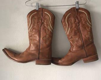 Brown cowboy western boots man size 11.
