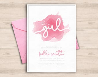 Baby Shower Invitation, It's A Girl, Pink Watercolor Shower Invite