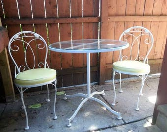 3 pc vintage mid century modern meadowcraft bistro set patio set set