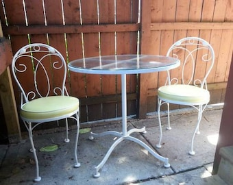 3 PC Vintage Mid Century Modern Meadowcraft Bistro Set Patio Set  Indoor/Outdoor Set