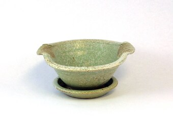 Handmade Pottery Berry Bowl, Small Colander for Berries, Blue Aqua
