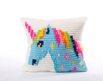 Ester girls present, Unicorn Pillow Kit, Modern Tapestry kit, Beginner Needlepoint, Unicorn Long stitch, Unicorn design pillow, Stitching